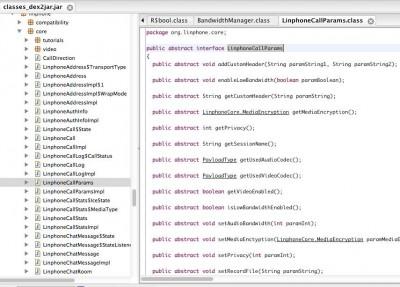 تصویر کد اپکلیکیشن ساینا که نشاندهنده استفاده از اپلیکیشن فرانیوی لینفون است. عکس از ICHRI، و استفاده با اجازه.